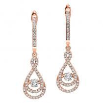 14KP Diamond Rhythm Of Love Earrings 1/2 ctw