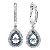 14K Blue & White Diamond Rhythm Of Love Earring 1/2 ctw