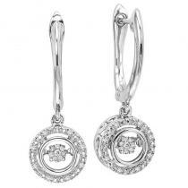 Silver Diamond Rhythm Of Love Earrings 1/10 ctw