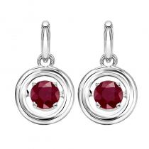 Silver Ruby Rhythm Of Love Earrings