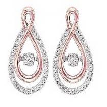 Rose Gold & Silver Diamond Rhythm Of Love Earrings