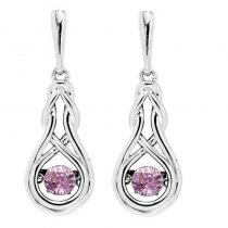 Silver Created Pink Tourmaline Rhythm Of Love Earrings