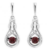 Silver Created Garnet Rhythm Of Love Earrings
