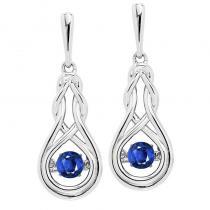 Silver Created Sapphire Rhythm Of Love Earrings