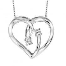 Silver Diamond Two Stone Pendant 1/20 ctw