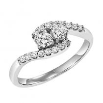 14K Diamond Two Stone Ring 1 1/2 ctw