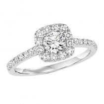 14K Diamond Engagement Ring 1/2 ctw With 1/2 ct Center Diamond