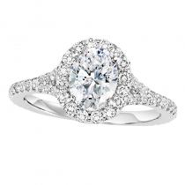 14K Diamond Engagement 1/2 ctw With 1 1/2 ct Oval Center