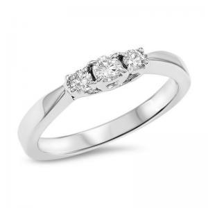 14K Diamond 3 Stone Ring 1/4 ctw