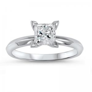 14K P/Cut Diamond Solitaire Ring 1/2 ct