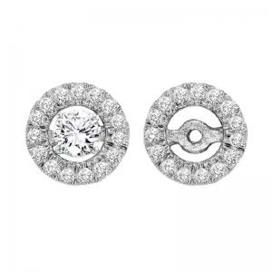 14K Diamond Earrings Round Jacket 1/5 ctw (for 1/2 ctw Studs)
