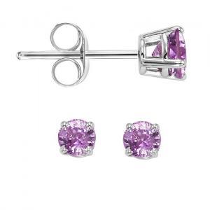 14K Pink Sapphire Studs 3 mm Rd
