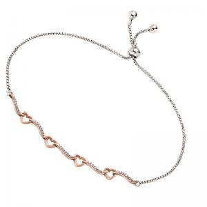 Silver Diamond Bolo Bracelet 1/8 ctw