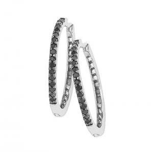 Silver Black Diamond Earrings 1/4 ctw