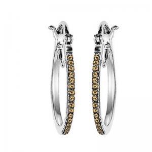 Silver Brown Diamond Earrings 1/4 ctw