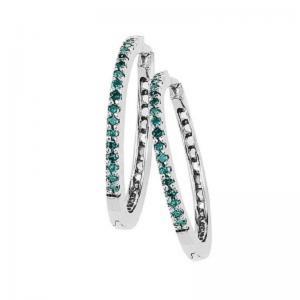 Silver Blue Diamond Earrings 1/4 ctw