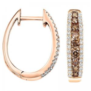 14KP Brown & White Diamond Earrings 1 ctw