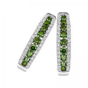 14K Green & White Diamond Earrings 1 ctw