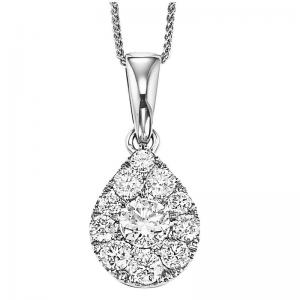 14K Diamond Pendant 1/2 ctw Pear Shape