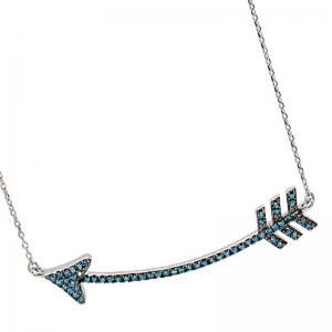 Silver Blue Diamond Arrow Pendant 1/3 ctw