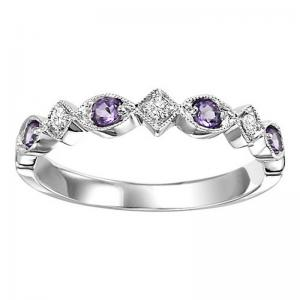 14K Amethyst & Diamond Ring