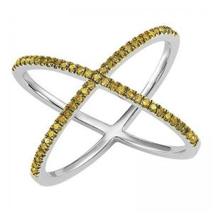 Silver Yellow Diamond Cross Ring 1/4 ctw