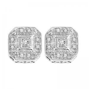 Silver Diamond Earrings