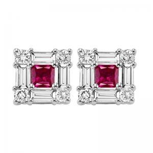 14K Ruby & Diamond Earrings