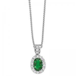 14K Emerald & Diamond Pendant