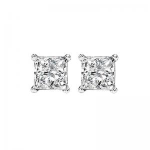 14K P/Cut Diamond Studs 1/2 ctw