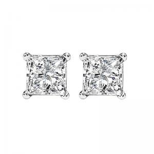 14K P/Cut Diamond Studs 1 ctw P2