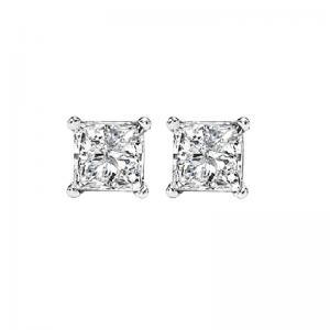 14K P/Cut Diamond Studs 3/8 ctw P1