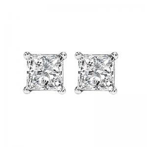 14K P/Cut Diamond Studs 3/4 ctw P1