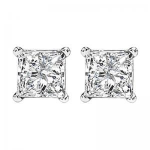 14K P/Cut Diamond Studs 2 ctw P1