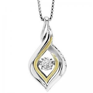 Silver & 10K Gold Diamond Pendant 1/10 ctw