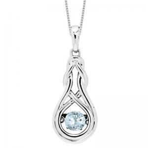 Silver Created Aquamarine Rhythm Of Love Pendant