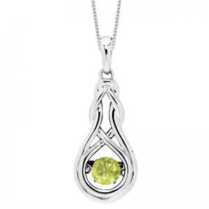 Silver Created Peridot Rhythm Of Love Pendant