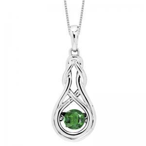Silver Created Emerald Rhythm Of Love Pendant