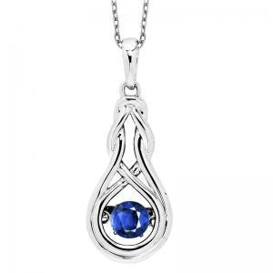 Silver Created Sapphire Rhythm Of Love Pendant