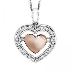 10K Diamond Rhythm Of Love Pendant 1/7 ctw