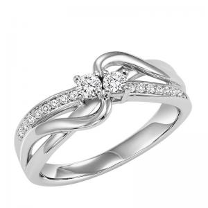 14K Diamond Two Stone Ring 1/4 ctw