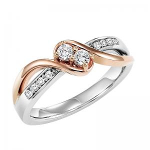 14K Diamond Two Stone Ring 1/5 ctw
