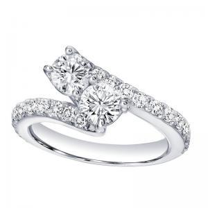 14K Diamond Two Stone Ring 2 ctw
