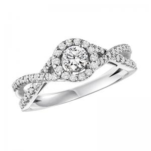 14K Diamond Engagement Ring 3/8 ctw with 1/4 ct Center